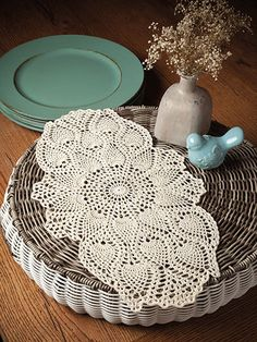 Grace your table tops with beauty and class! Shop for crochet doily patterns at Annie's. Crochet Kits, Crochet Doily Patterns, Crochet Doilies, Knit Crochet, Crochet Table Runner, Bedspreads, Tablecloths, Craft Stores, Runners