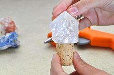 wine cork bottle stopper stone rock crystal DIY new years