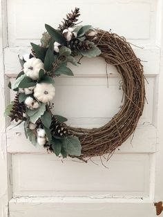 Handmade Fall Farmhouse wreath for neutral lovers! Handmade Fall Farmhouse wreath for neutral lovers! Diy Fall Wreath, Fall Diy, Fall Wreaths, Christmas Wreaths, Wreath Ideas, White Wreath, Blue Christmas Decor, Christmas Decorations, Farmhouse Fall Wreath
