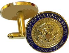 President Donald Trump Gold Eagle Coin Cuff Links with Oval Office Presidential Seal