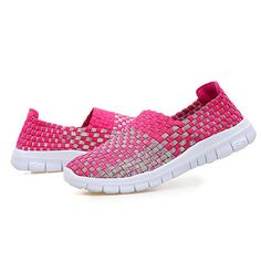 Breathable Woven Sneakers Slip On Colorful Casual Shoes For Women