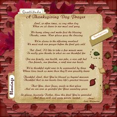 Thanksgiving Dinner Prayer   Just wanted to come here and post this today!