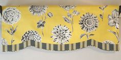 Custom Window Valance Sunny Yellow Black Grey Stripe Accent Band Cording Lined