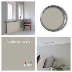 Kiezelgroen FLEXA Interior Paint Colors, Paint Colors For Home, Small Room Bedroom, Home Bedroom, Living Colors, Dutch House, Kitchen Wall Colors, Grey Walls, Home Decor Inspiration