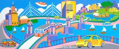 """Boston Bustle"" Giclée Print of Painting by Artist Sara Morton. Imaginary trip around Boston features MBTA Red Line, Museum of Science, Zakim Bridge, Longfellow Bridge, Swan Boat ,Hood Blimp & Mass Eye and Ear Infirmary. This is a full length replica of the original painting.  Bring a bit of Boston into your home or child's room with a Canvas Giclée Print of ""Boston Bustle"".  MortonArtsEditions, $200.00 Rockport Massachusetts, Boston Art, Original Paintings, Oil Paintings, Beautiful Paintings, Landscape Paintings, Illustrators, Art For Kids, Giclee Print"