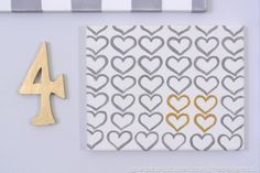 Gold and Gray DIY heart canvas Heart Canvas, Heart Party, Valentine's Day Printables, Winter Project, Valentine's Day Diy, Valentine Day Crafts, Anniversary Cards, Decor Crafts, Wooden Signs