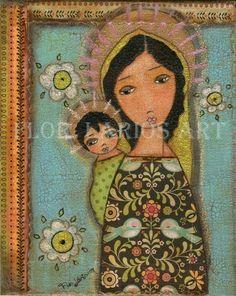 Negro de Madonna con el niño madre y niño por FlorLarios en Etsy
