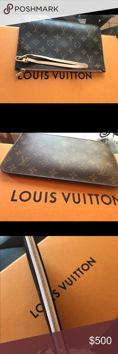 Authentic Louis Vuitton Rose Ballerina Pouchette SOLD OUT And Discontinued line color 2016 Pouchette in good used condition. Inside bit dirty. Strap in great condition no scuffs or rips.  🅿️🅿️📠📦$350 Louis Vuitton Bags Clutches & Wristlets