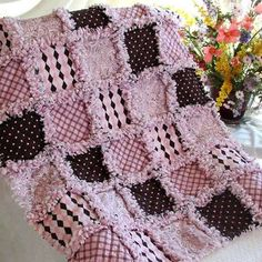 Pink and Brown Baby Rag Quilt Dont know why I love this so much.