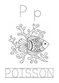 Fiche d'activité de graphisme - Alphabet - P comme Poisson (Script)