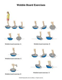Ankle Sprain Exercises.  These are excellent, but deceptively simple. You may need a dowel or person for support.