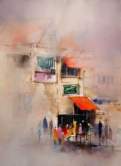 Painting demonstrating different applications of watercolor paint © John Lovett Watercolour Tutorials, Watercolor Techniques, Painting Techniques, Watercolor Sketch, Watercolour Painting, Painting & Drawing, Watercolours, Watercolor Architecture, Watercolor Landscape