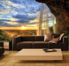 Beautiful wall mural - Waterfalls!    Our products combine the high-quality and photo quality print for breathtakingly realistic 3D-perspective.