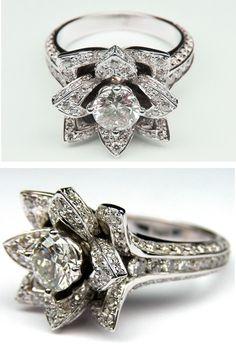 Lotus Diamond Engagement Ring - so unique!