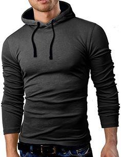Grin&Bear Men's Long Sleeve Hoodie, charcoal/black, L, GB101 - http://www.exercisejoy.com/grinbear-mens-long-sleeve-hoodie-charcoalblack-l-gb101/athletic-clothing/