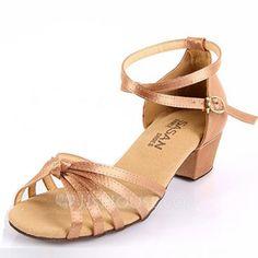 Kids' Latin Ballroom Sandals Flats Satin Ankle Strap Dance Shoes