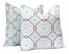 Pillows, Decorative Throw Pillow Covers Pair of Two Aqua Seafoam and Brown Trellis Floral Cushion Cover Toss Pillow One All Sizes