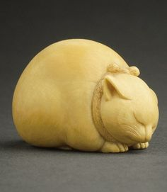 Sleeping Cat, netsuke, by Kaigyokusai (Masatsugu) (Japan, 1813-1892), mid- to late 19th century