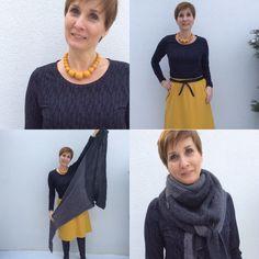 Handmade outfit with Lark Tee by grainline studio, skirt Annalisa by schnittchen and triangular scarf by DaWanda. Made by ganzmeinding.wordpress.com