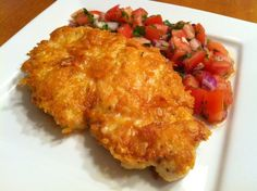 Parmesan Crusted Chicken with Tomato-Basil Salsa