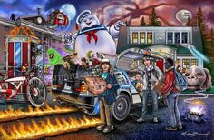 There are 26 different movie references in this artwork. Delorean Time Machine, Nostalgia Art, Image Film, Ghost Busters, Film Serie, Character Portraits, Cool Posters, Movie Posters, Vintage Cartoon