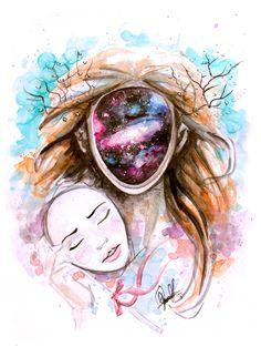 """You are the Universe experiencing itself"" Alan Watts. Acuarelas/ watercolor by Cande. facebook.com/carballocandelaria"