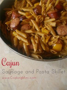 Cajun Sausage and Pasta Skillet. Pasta is cooked with onion, peppers, smoked sausage, and Cajun seasoning and then finished with a creamy sauce