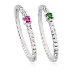 Elise Dray Women Alliance Set Of 2 Diamond Pinky Rings (4,630 CAD) ❤ liked on Polyvore featuring jewelry, rings, green diamond ring, diamond rings, pinky ring, elise dray jewelry and elise dray