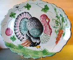 vintage turkey platters | Vintage Italian ceramic turkey platter Turkey Plates, Turkey Dishes, Vintage Thanksgiving, Thanksgiving Recipes, Happy Thanksgiving, Pottery Painting, Painted Pottery, Turkey Time, Fall Table