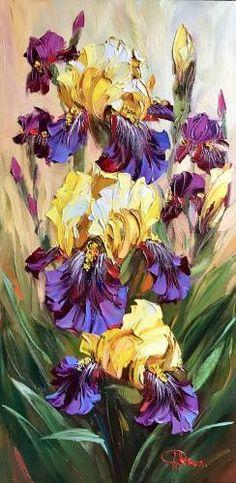 Картина (Картина): желто-бордовые ирисы