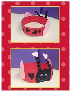 Valentine's Day Love Bug Headband Craft – saintvalentin Valentine Hats, Valentine Day Love, Valentines Day Party, Valentines For Kids, Valentine Day Crafts, Valentine Ideas, Kindergarten Crafts, Classroom Crafts, Preschool Crafts