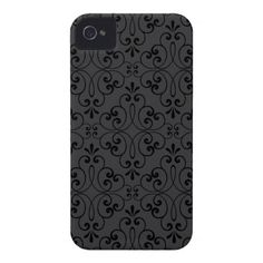 Ornate damask decorative black gray iPhone 4 case