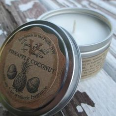 Organic Pineapple Coconut Mid-Size Traveler Soy Candle