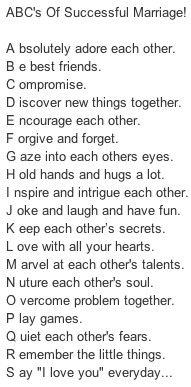 ABCs of Successful Marriage. Love this. Would like to have a plaque with this for our wedding.
