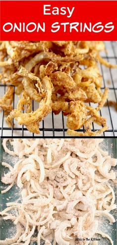 Side dish recipes 532269249711779731 - Easy Onion Strings are a crispy and delicious addition to burgers and sandwiches or serve them up as an irresistible side dish or appetizer! Burger Toppings, Sandwiches, Vegetable Dishes, Vegetable Recipes, Veggie Recipes Sides, Onion Strings, Onion Recipes, Aloo Recipes, Recipies
