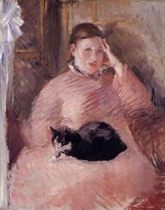 Woman with a Cat, Portrait of Madame Manet  Edouard Manet - 1882-1883