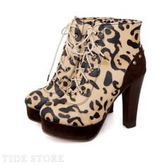 US$43.09 Irresistible Yellow Ankle High PU Round Toe Leopard Print Chunky Heel Boots. #Ankle #Print #Leopard #Ankle
