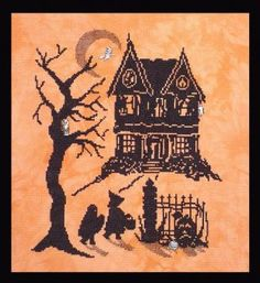 Halloween Silhouette Scary Night 2 is the title of this cross stitch pattern from Handblessings Patterns that is stitched with two strands o...