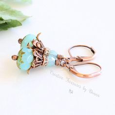 Copper Earrings, Czech Turquoise Glass Beads, Swarovski Crystal, Rhinestone Spacers, Victorian Earrings, Flower Earrings, Blue Earrings