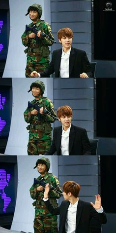 """Rap Mon""""Hyung? Jin Hyung?!"""" Jin: """"What!?"""" """"Rap Mon: """"prepare yourself fir the sh*t load of army coming through!"""" Jin:""""What?"""" Rap Mon: """"PUT YO GODDAMN HANDS UP!!!!"""" Jin: """"OKAY FINE DON'T F*CKING KILL ME!!!"""" Rap Mon: """" Good Hyung..."""" Jin: """"Watch when I whoop yo ass at home!"""" Rap Mon: *Gulp*"""