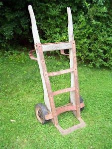 Antique Wood U0026 Iron Barrel Dolly Hand Truck Cart Railroad Industrial Factory