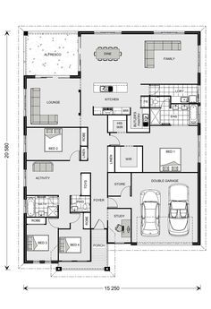 Casuarina 295 Our Designs New South Wales Builder GJ Gardner Homes New South New House Plans, Dream House Plans, Small House Plans, House Floor Plans, Home Design Floor Plans, Kitchen Floor Plans, Br House, Sims House, Plan Ville