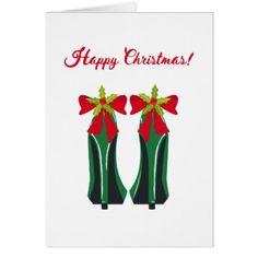 #Green High Heels with Christmas Bows Card - #Xmas #ChristmasEve Christmas Eve #Christmas #merry #xmas #family #kids #gifts #holidays #Santa
