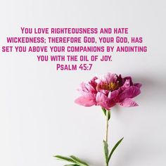 Psalms You love righteousness and hate wickedness; therefore God, your God, has set you above your companions by anointing you with the oil of joy. Bible Qoutes, Bible Scriptures, Psalm 45, Scripture For Today, Righteousness Of God, Be My Hero, God Is Amazing, God Made Me, Real Love