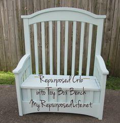 My Repurposed Life™: Repurposed Crib into Toy Box Bench