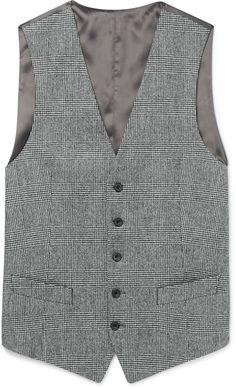 Thom Sweeney Grey Prince of Wales Checked Wool Waistcoat