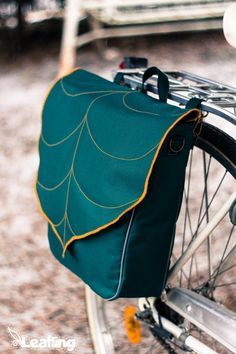 Teal Leaf Bike Pannier, Waterproof Bicycle Pannier, Messenger bag, Bike accessory Convertible - Made To Order ! Bicycle Panniers, Bicycle Bag, Road Bike Women, Bicycle Maintenance, Cool Bike Accessories, Bike Life, Cool Bikes, Messenger Bag, Teal