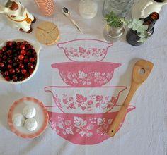 Vintage Pyrex Tea Towel Pink Gooseberry door freshpastrystand - pin maudjesstyling