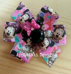 Girls Inspired Disney Minnie Mouse Pink Hair Bow / Mouse Print Hair Bow / Birthday Gift Party Favors / Stocking Stuffer