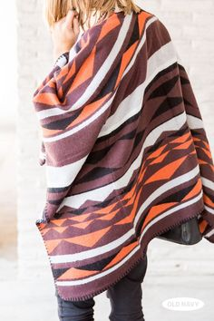 Get wrapped up in this colorful, southwestern patterned poncho a la Molly from A Piece of Toast.